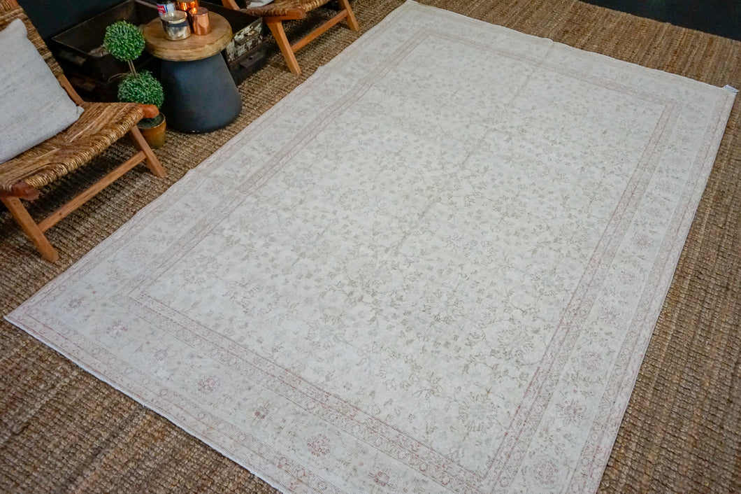 6'8 x 10'3 Vintage Oushak Rug Muted Raspberry, Beige + Blue-Gray Carpet