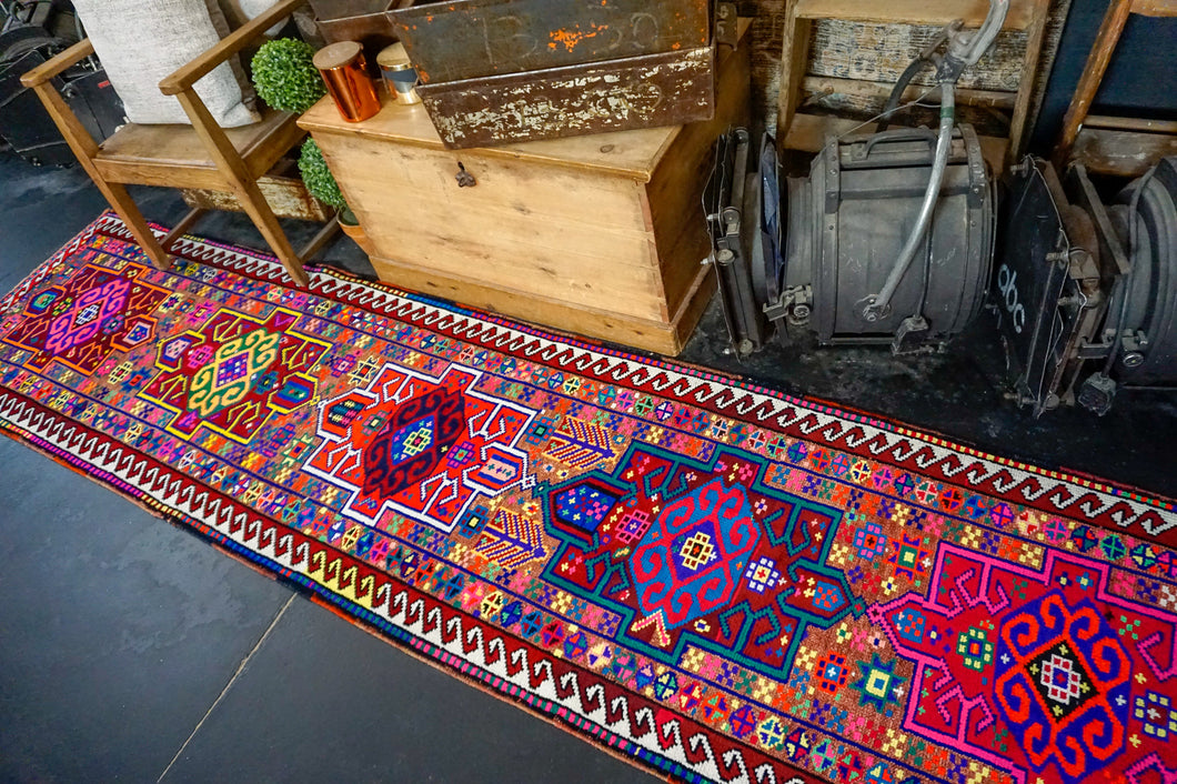 2'7 x 10'8 Vintage Turkish Runner Bright Bold Colorful 70's