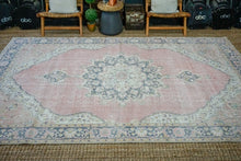 Load image into Gallery viewer, 6'10 x 11'1 Vintage Oushak Rug Muted Red, Navy, Black + Honey Carpet