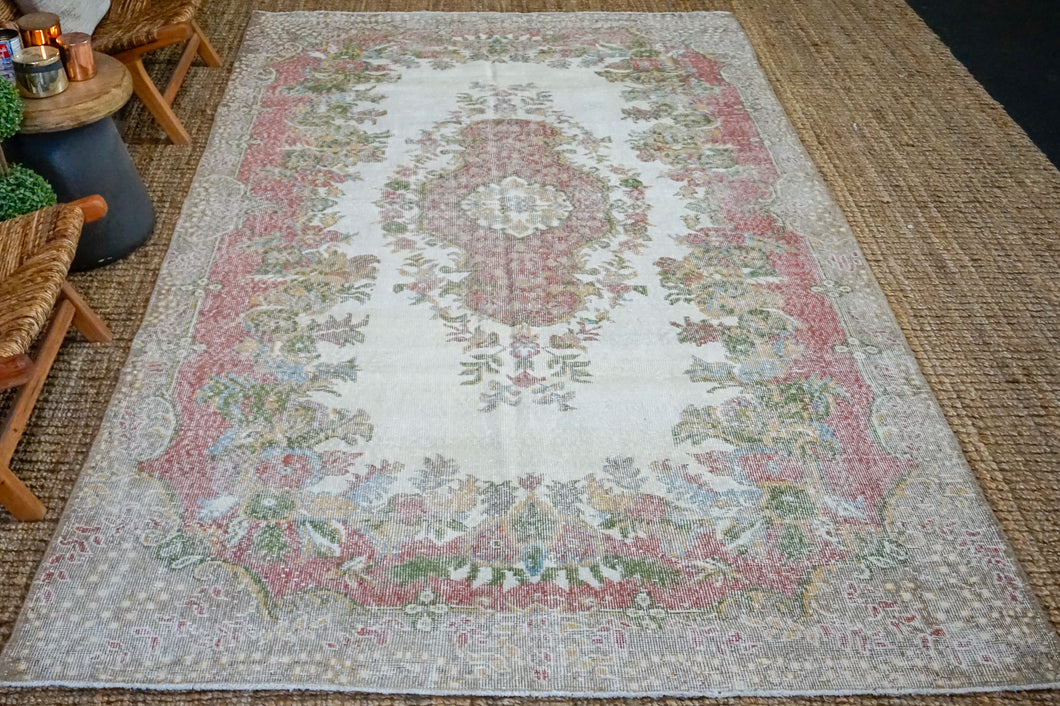 6'1 x 10'6 Vintage Oushak Rug Muted Wine, Green, Blue + Honey Carpet