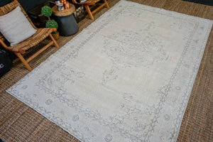 6'11 x 10'7 Vintage Oushak Rug Muted Warm Beige, Green + Gray Carpet