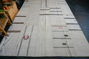 9' x 12' MCM Vintage Organic Hemp Rug Off White and Brown Collage Kilim