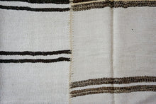Load image into Gallery viewer, 9' x 12' MCM Vintage Organic Hemp Rug Off White and Brown Collage Kilim