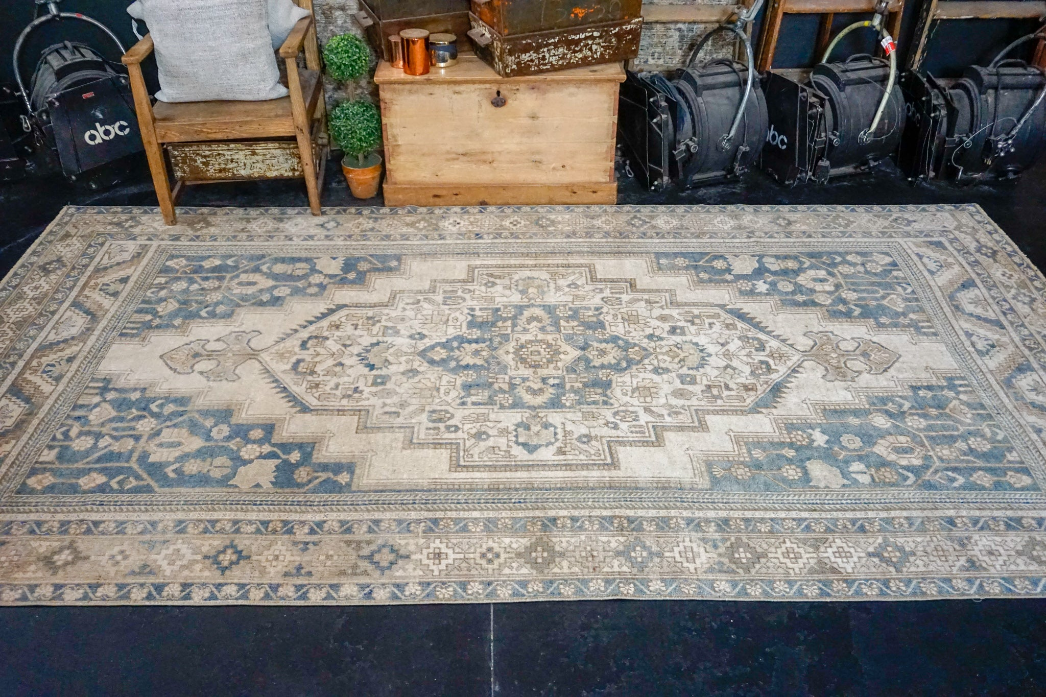 6' x 11'2 Vintage Taspinar Carpet Muted Deep Denim, Teal & Beige