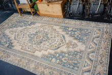 Load image into Gallery viewer, 6' x 11'2 Vintage Taspinar Carpet Muted Deep Denim, Teal & Beige