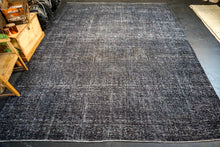 Load image into Gallery viewer, 10' x 12'10 Tabriz Carpet Overdyed Black Vintage Carpet
