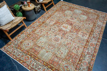 "Load image into Gallery viewer, 7'1"" x 9'7"" Vintage Persian Hamadan Carpet Beige, Bronze & Blue Vintage 60's"