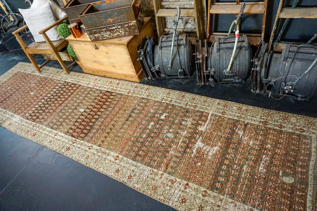 3'4 x 13'4 Vintage Hamadan Runner Taupe, Copper and Olive Green