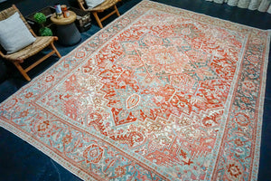 9'10 x 13'5 Classic Vintage Rug Muted Red, Cream, Gray + Blue Carpet