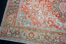 Load image into Gallery viewer, 9'10 x 13'5 Classic Vintage Rug Muted Red, Cream, Gray + Blue Carpet
