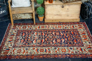 4'6 x 6' Vintage Carpet Blue, Red and Cream 70's