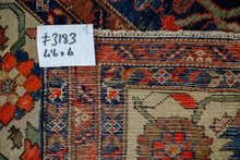 Load image into Gallery viewer, 4'6 x 6' Vintage Carpet Blue, Red and Cream 70's