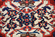 Load image into Gallery viewer, 4'4 x 5'7 Vintage Malayer Carpet Red, Blue and Cream 70's
