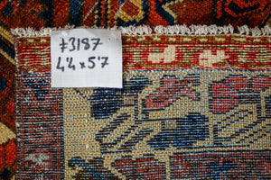 4'4 x 5'7 Vintage Malayer Carpet Red, Blue and Cream 70's