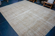 Load image into Gallery viewer, 7'6 x 11'1 Oushak Carpet Navy Blue and Beige Vintage Rug
