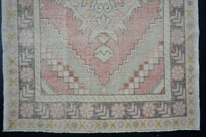 Turkish Oushak Runner 3'3 x 9'5 Pink, Gray + Cream