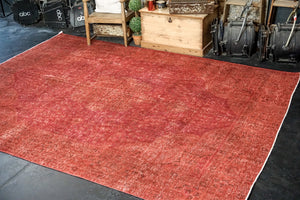 8' x 11'2 Vintage Tabriz Rug Red Overdyed 1960's Handmade