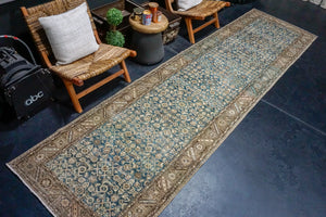 9'4 x 13'  Vintage Tabriz Carpet Denim Blue Overdyed Vintage Rug