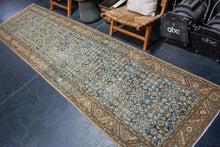 Load image into Gallery viewer, 3'6 x 13'4 Classic Vintage Runner Indigo Blue, Beige + Brown