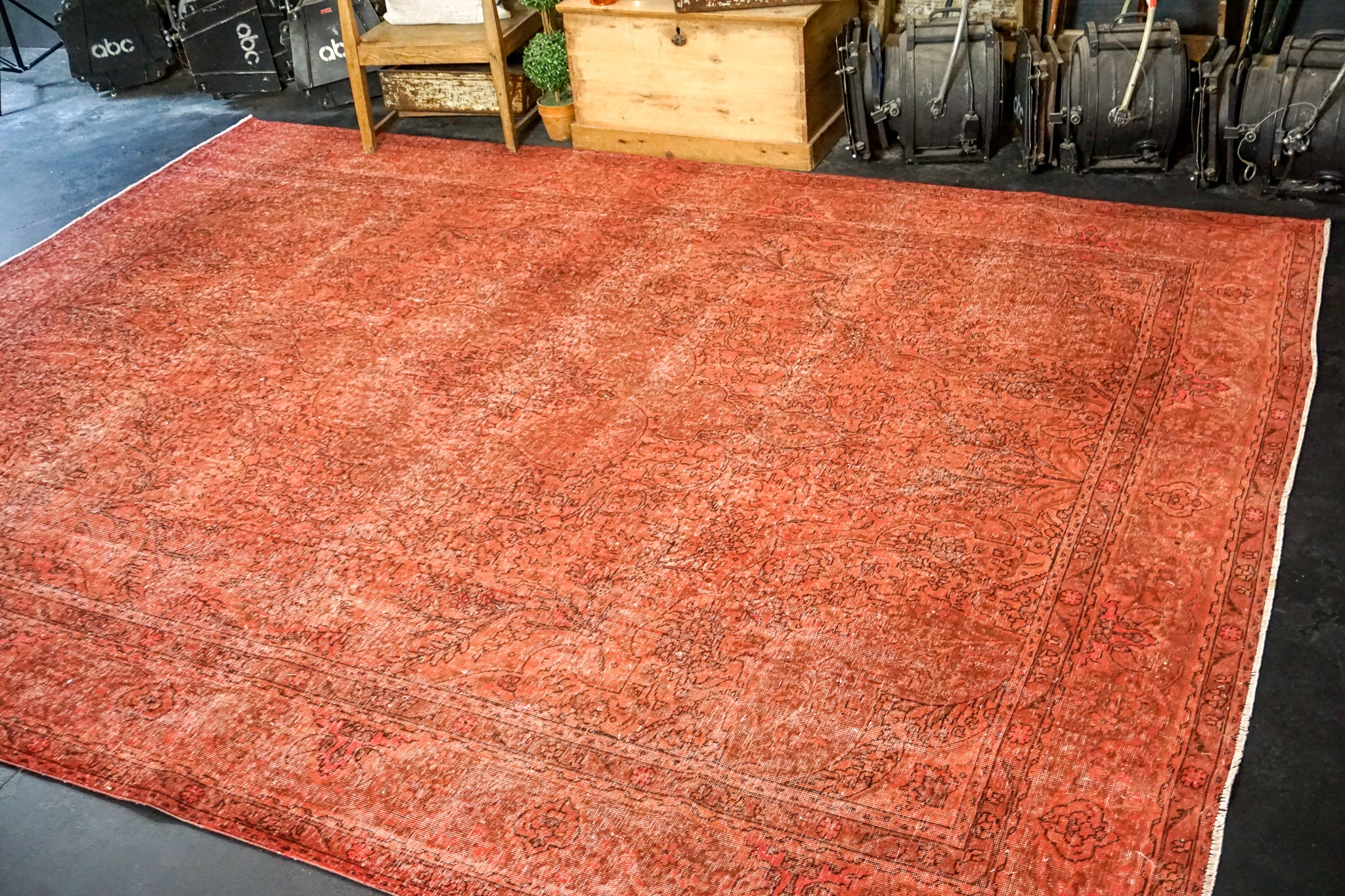 9'7 x 12'4 Vintage Tabriz Rug Red Overdyed 1960's Handmade