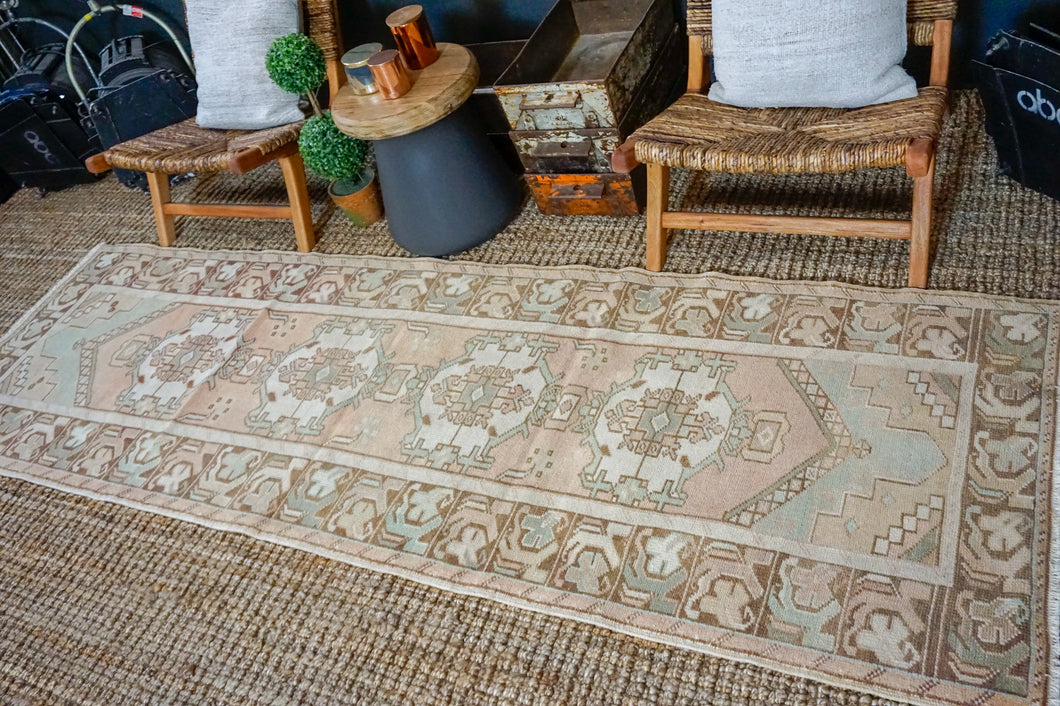 3'1 x 9'7 Vintage Turkish Runner Muted Rust, Green, Cream and Brown