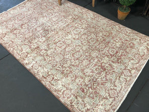 4 X 7 Oushak Rug Rose Gold, Blush, Blue + Beige