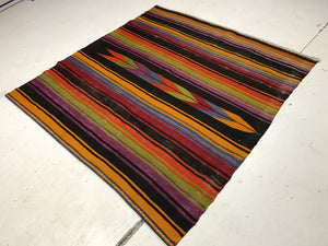 4 x 4 Vintage Turkish Kilim Brightly Colored Striped