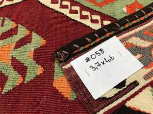 3 x 5 Bohemian Tasseled Kilim Red & Green Black Detail
