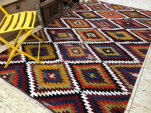 6'x9' Vintage Multi Color Turkish Kilim Bohemian