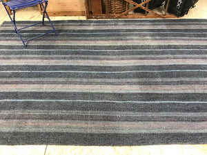 Mid-Century Modern Design 7 x 11 Oversize Turkish Kilim Indigo Blue, Purple, and Gray