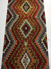 Load image into Gallery viewer, 3 x 7 Kilim Runner Turkish Anatolian Region Geometric Pattern 1970's Vintage