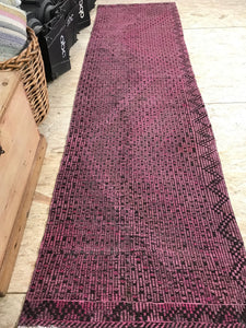 3 X 11 Runner Turkish Kilim Overdyed Pink