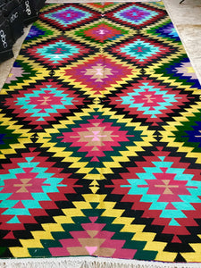 5.7 X 11 Kilim Rug Anatolian Turkish Vintage Bohemian Colorful Kilim