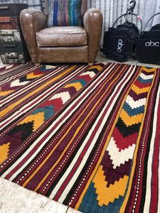 Vintage Turkish Kilim 6 X 11 Flat weave Carpet Colors Gold, Yellow, Brown, Rust, Blue