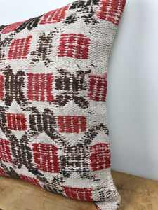 "Vintage Turkish Kilim Pillow 19"" X 19"" Embroidered Hemp & Wool  Cicim Carpet Fragment 1970's (cover only)"
