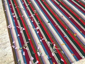 7 x 8 MCM Filikli Kilim Red, White, Green, and Blue Stripes