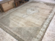 Load image into Gallery viewer, 11 x 7 Vintage Oushak Carpet Turkish Pale Bronze, Golden Rose and Beige