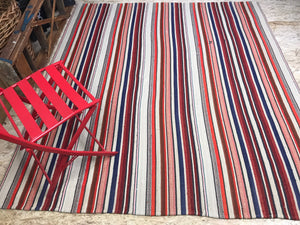6 x 7 MCM Vintage Filikli Muti-Colored Striped Rug