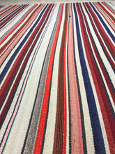 Load image into Gallery viewer, 6 x 7 MCM Vintage Filikli Muti-Colored Striped Rug