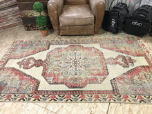 Load image into Gallery viewer, 7 X 4 Turkish Oushak Rug 1960's Shabby Chic Soft Pastel Colors Handmade Carpet