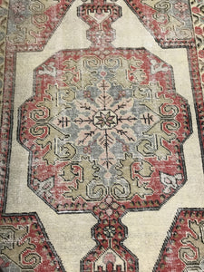 7 X 4 Turkish Oushak Rug 1960's Shabby Chic Soft Pastel Colors Handmade Carpet