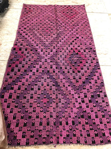 4 x 7 Pink Vintage Turkish Small Kilim Rug Runner Embroidered  Overdyed Cicim Carpet 1970's