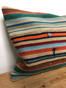 "14"" X 19"" MCM Multi Colored Striped Pillow"