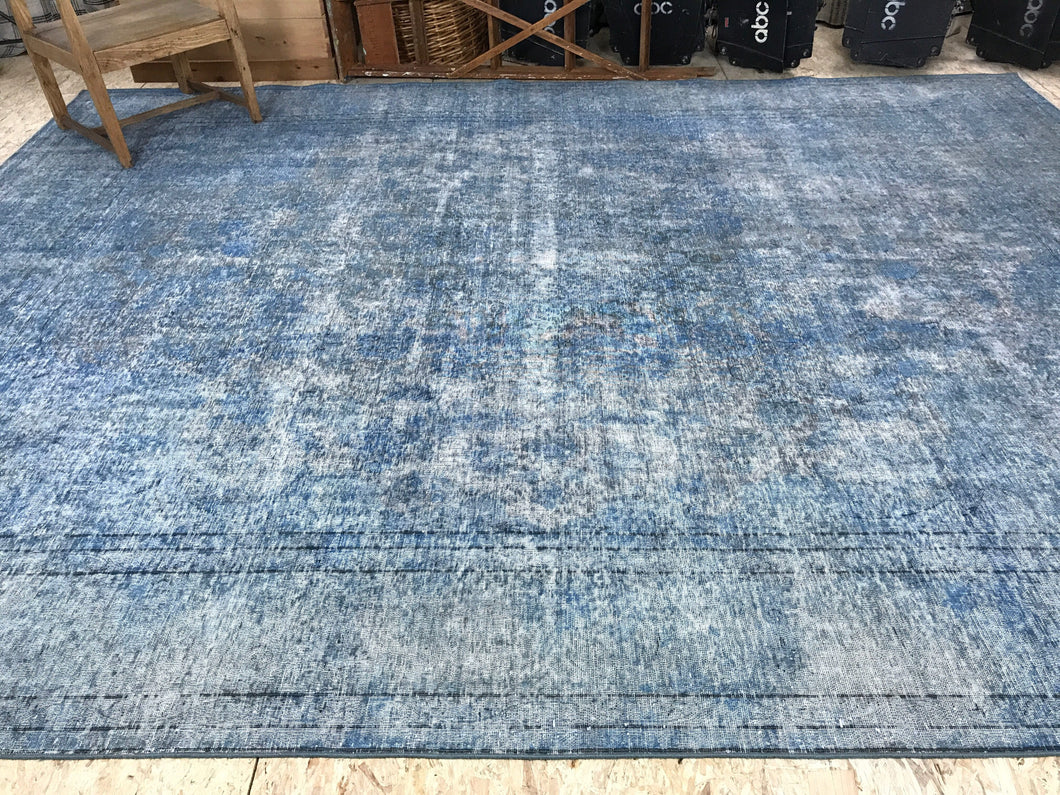 10 X 13 Oversize Vintage Oushak Carpet Light Indigo Blue Overdyed Rug