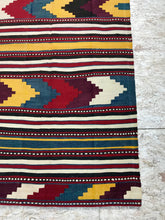 Load image into Gallery viewer, Vintage Turkish Kilim 6 X 11 Flat weave Carpet Colors Gold, Yellow, Brown, Rust, Blue