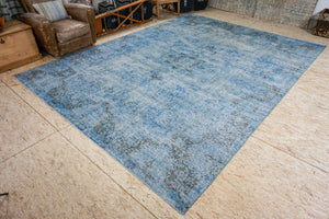 10 x 13 Vintage Persian Carpet Indigo Blue and Aqua Overdyed