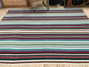 6 x 7 MCM Kilim Black & Multi-Cored Striped