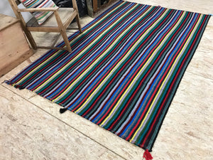 6x9 MCM Kilim Rainbow Striped Vintage Rug
