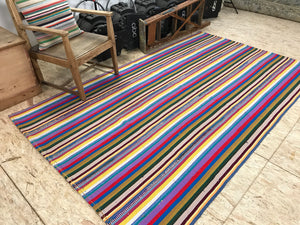5x9 MCM Striped Vintage Kilim Flatweave Multi-Colored