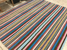 Load image into Gallery viewer, 7 x 8 MCM Kilim Blue & Rainbow Striped Carpet
